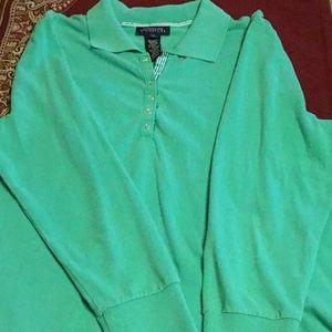 1X Jones New York polo long sleeves green shirt .